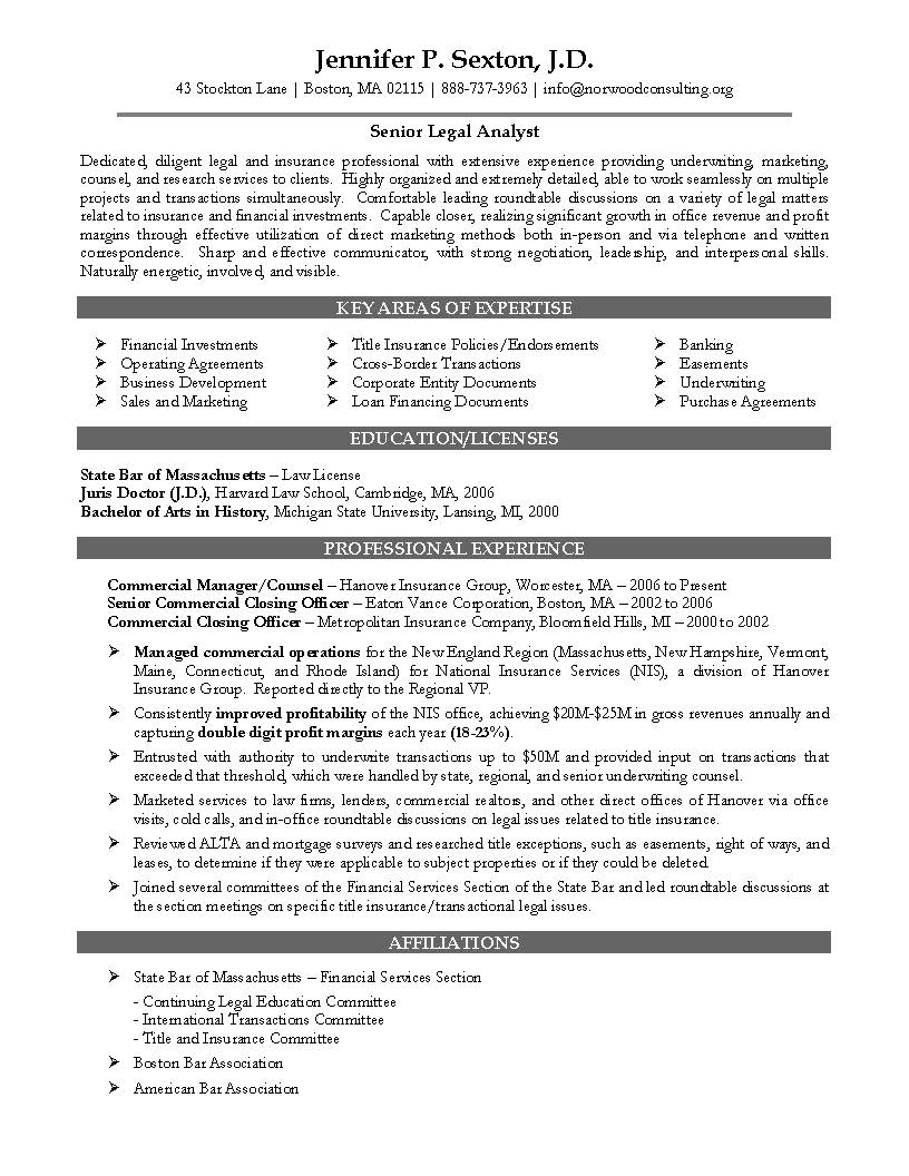 Lawyer Sample Resume Attorney Tyrone