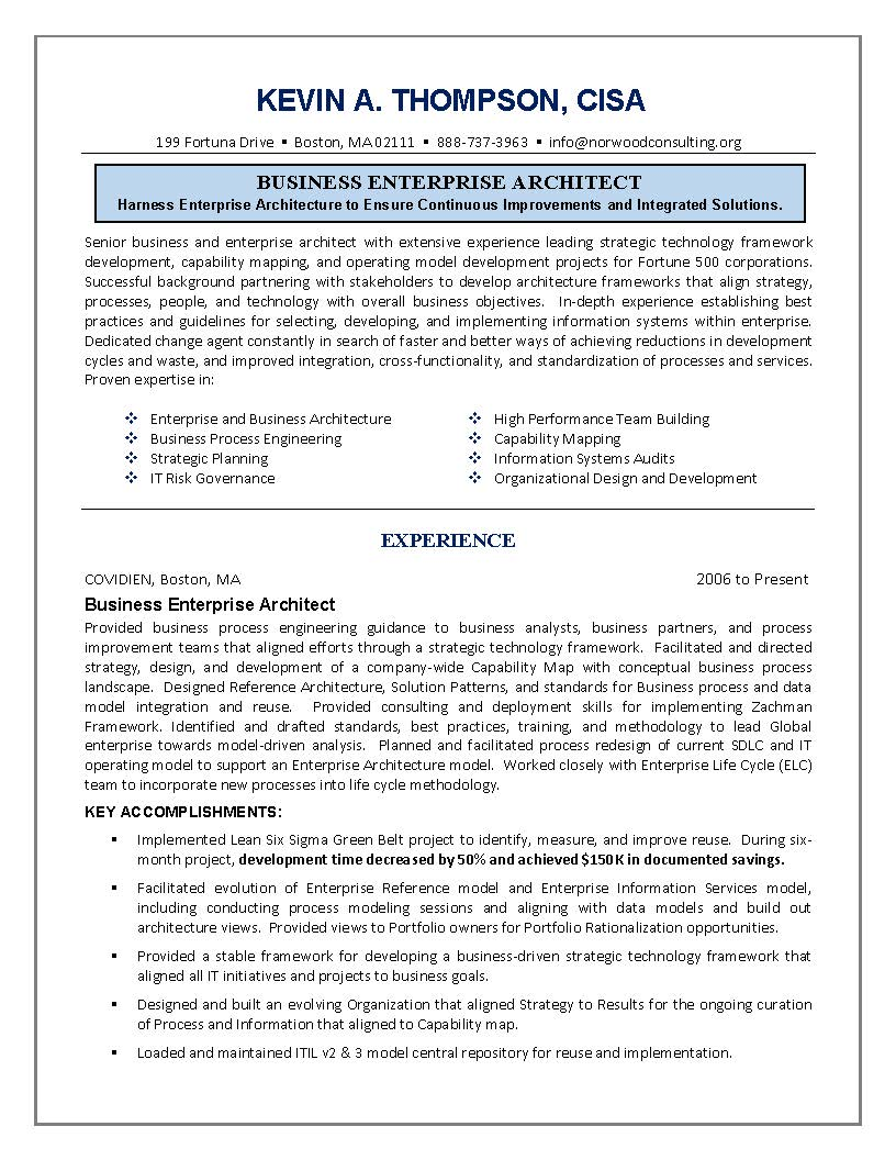 IT Resume, Engineering Sample Resume, Business Architect Sample Resume