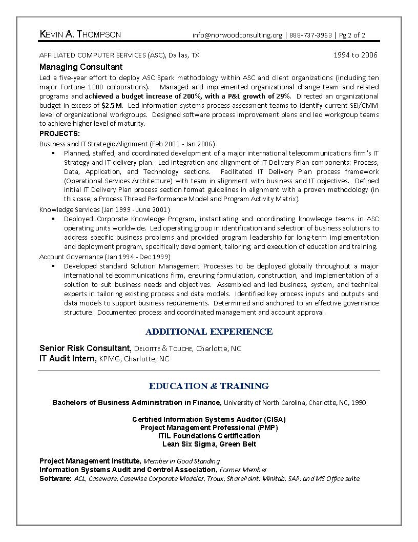 IT Engineering Sample Resume Page #2