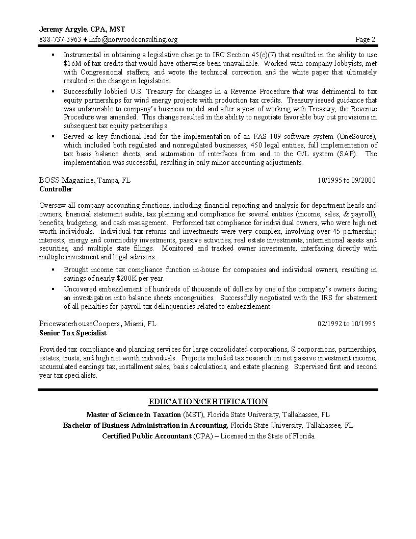 tax director sample resume page 2 - Sample Resume For It Professional