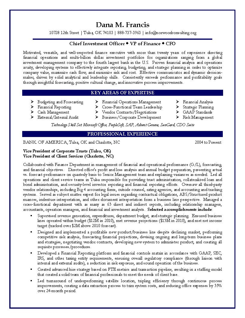 CFO Sample Resume VP of Finance Sample Resume – Sample Cfo Resume