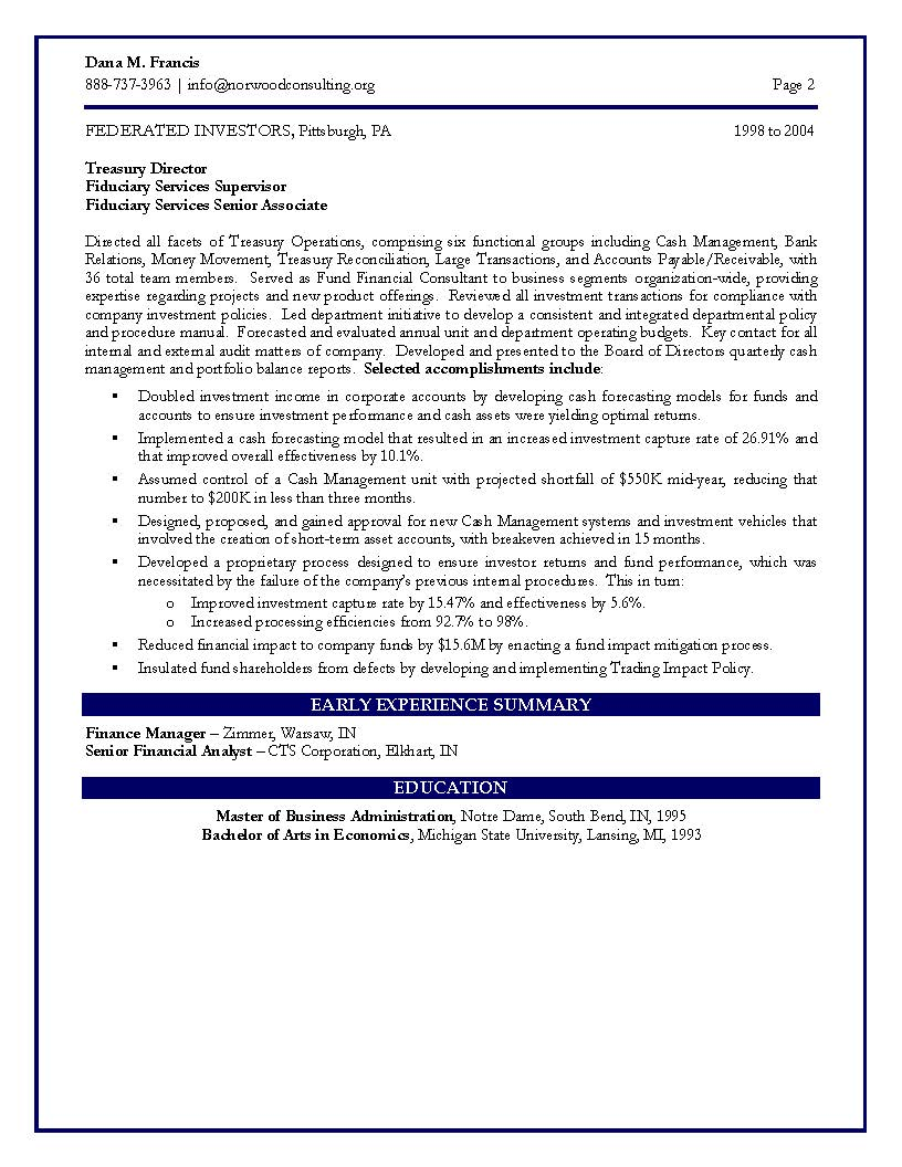 cfo sample resume vp of finance sample resume certified resume it engineering sample resume page 2