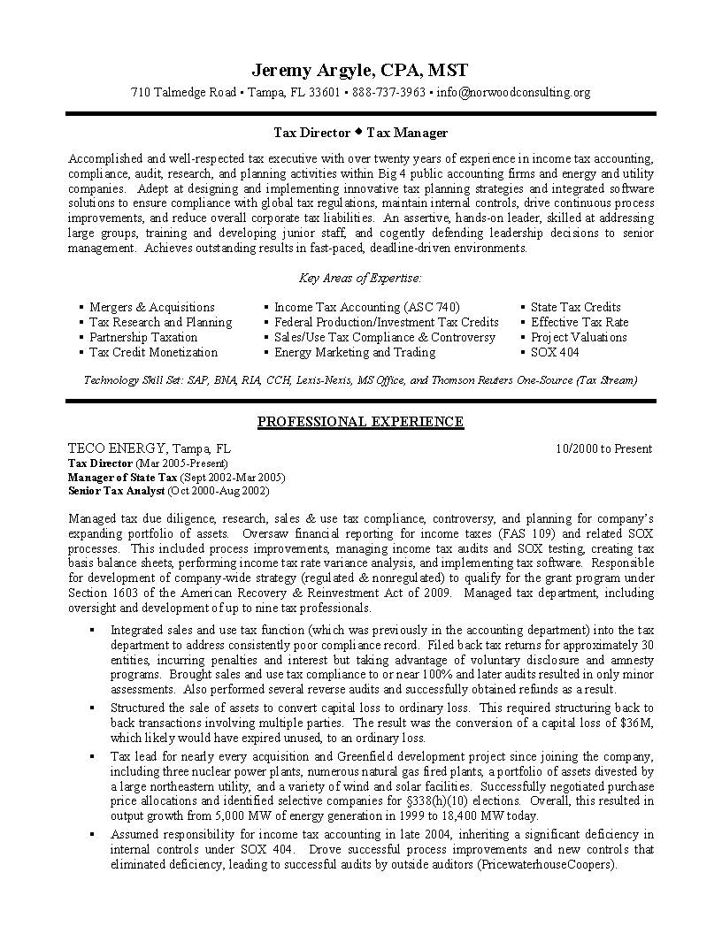 tax director sample resume